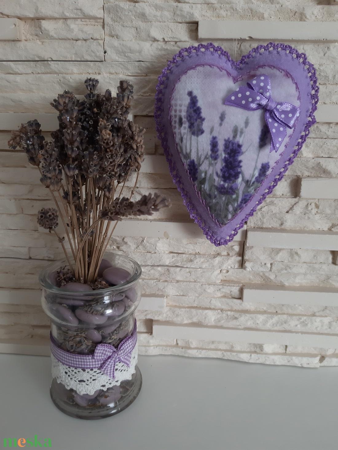 Levendulás szívecske dekoráció - otthon & lakás - dekoráció - dísztárgy - Meska.hu