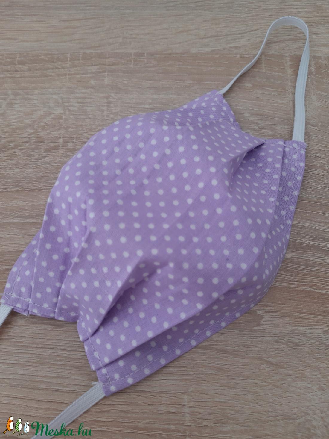Női textil arcmaszk - világoslila pöttyös - maszk, arcmaszk - női - Meska.hu