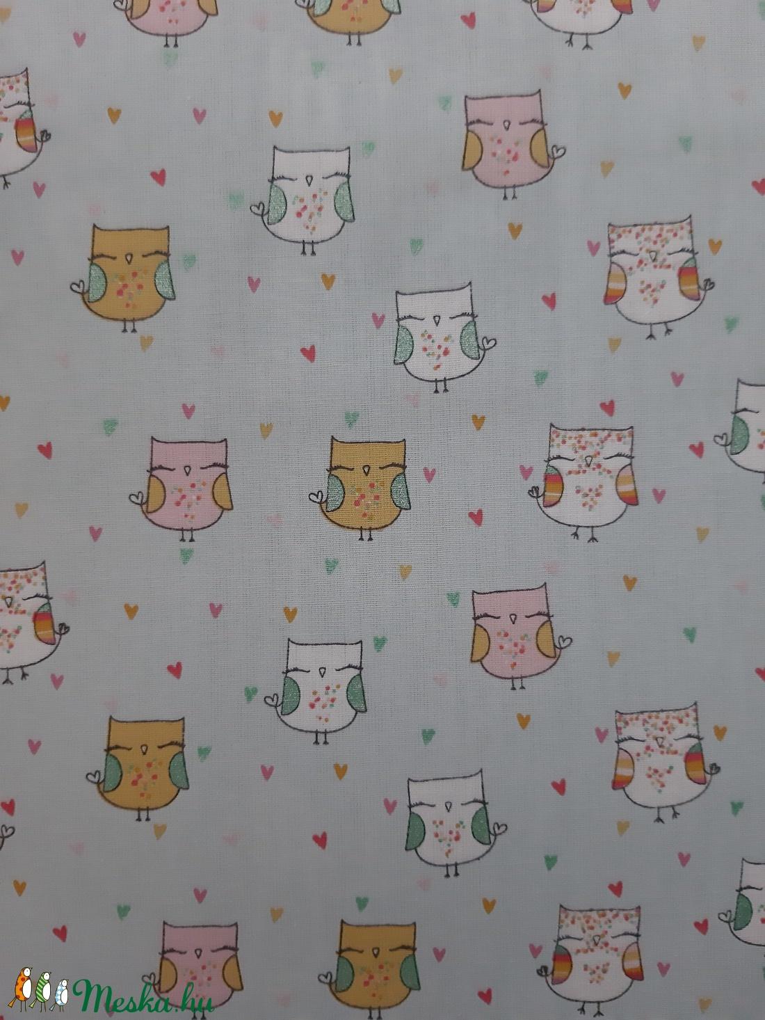 Gyermek textil maszk - világos menta, cuki baglyos - maszk, arcmaszk - gyerek - Meska.hu