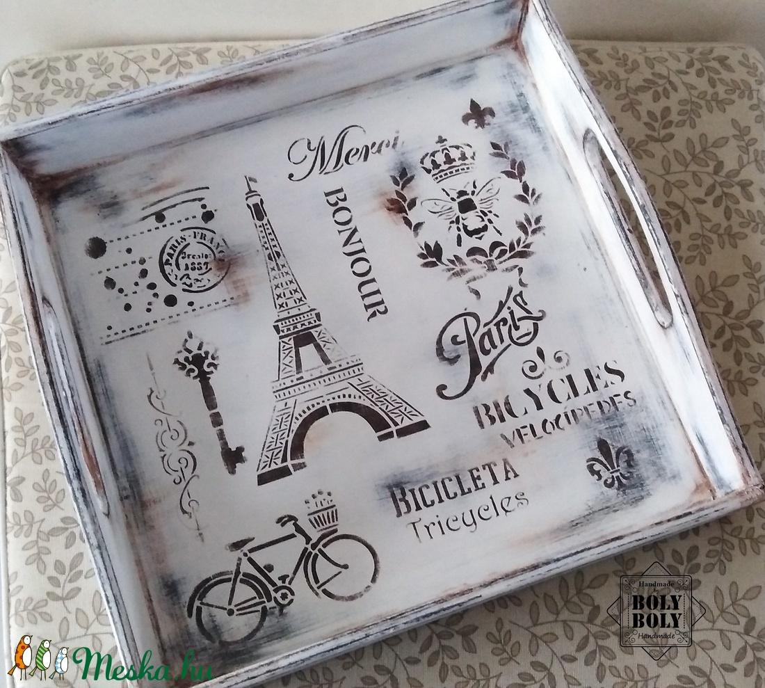Paris - Vintage kínálótálca fehér színvilágban koptatva, antikolva - otthon & lakás - konyhafelszerelés - tálca - Meska.hu