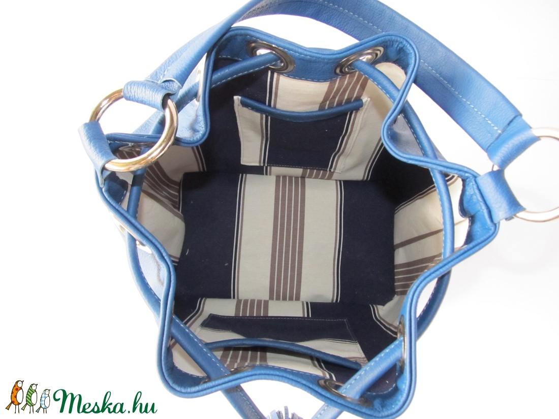 Bőr vödörtáska, királykék, valódi bőr táska - táska & tok - kézitáska & válltáska - vállon átvethető táska - Meska.hu
