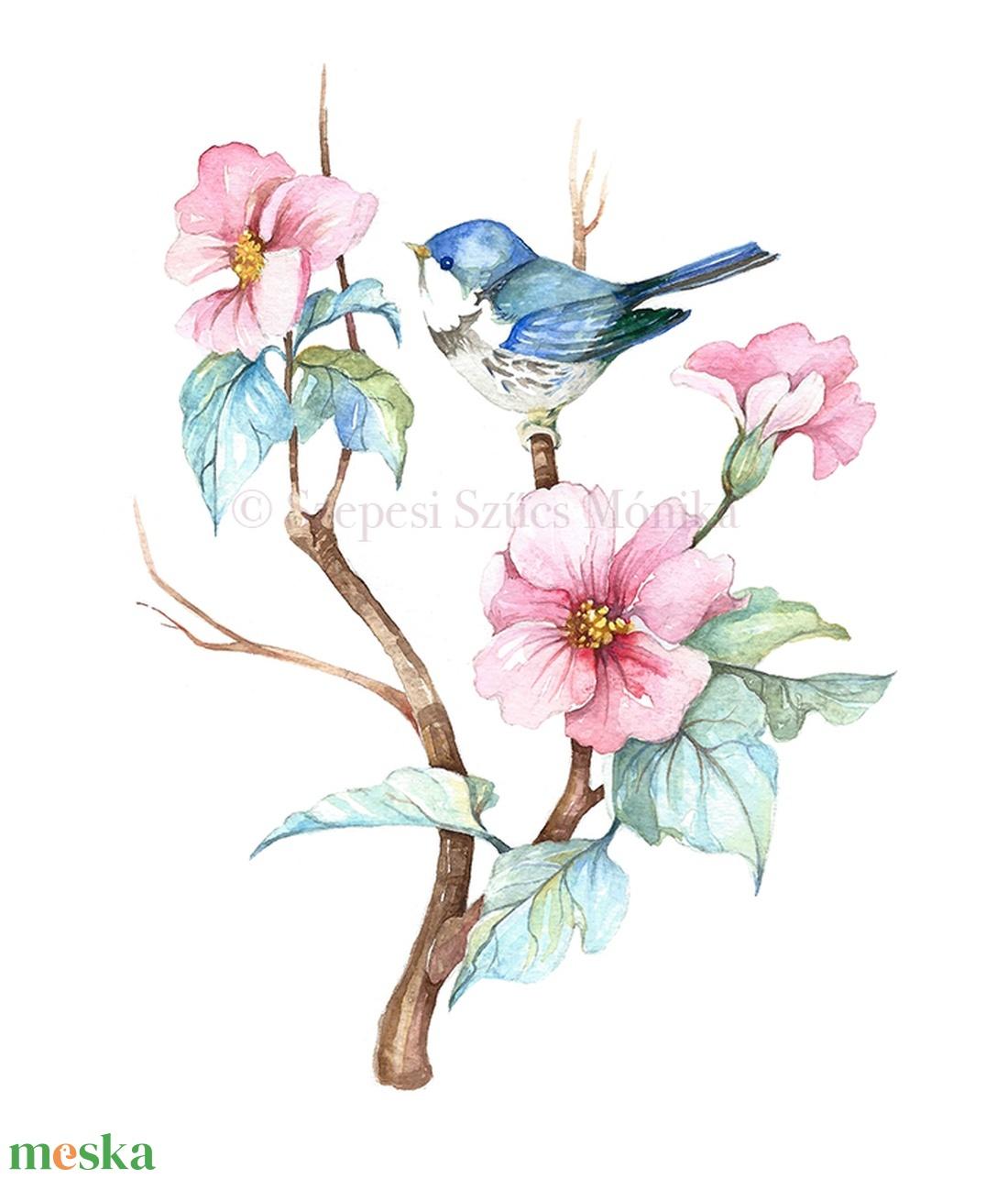 Rododendron cinegével - Print (Akvarell) - Meska.hu