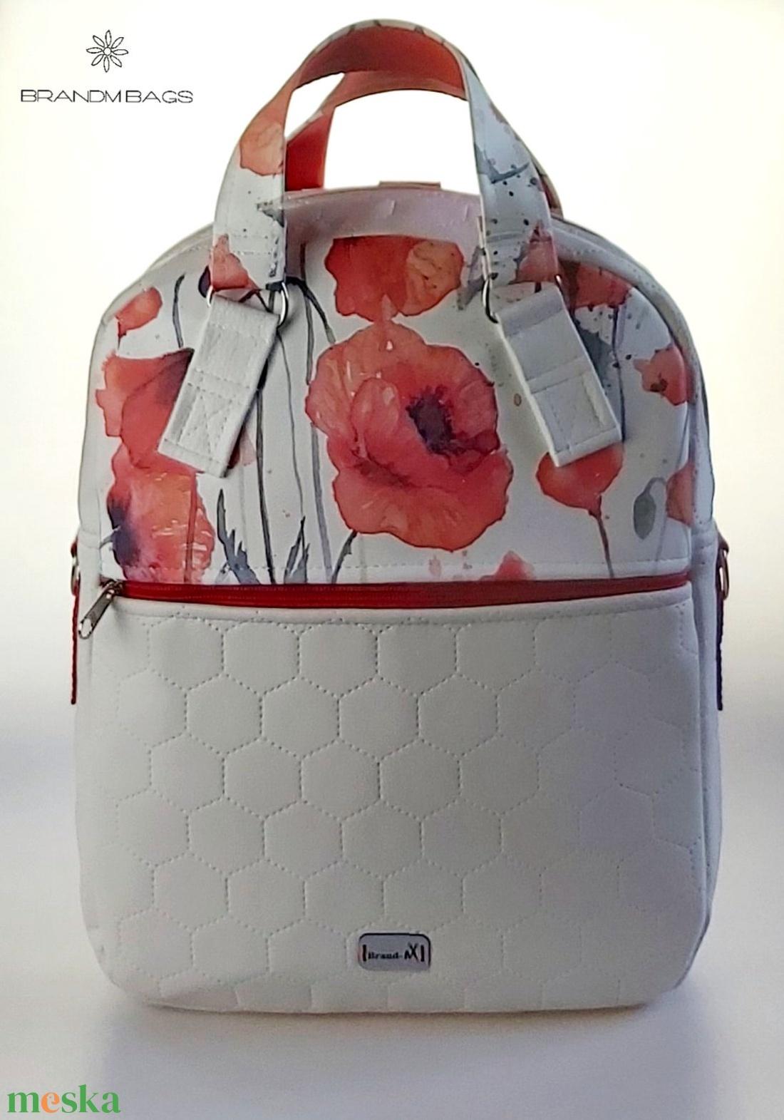 Különleges pipacsos textilbőr �RITA 4 az 1-ben női táska/hátizsák - táska & tok - variálható táska - Meska.hu