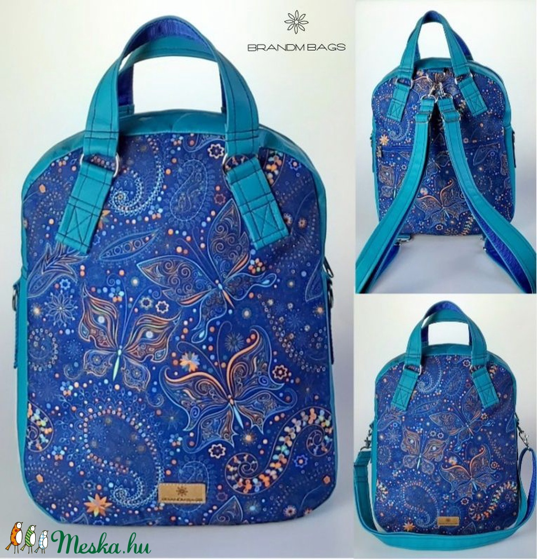 Királykék pillangós vízálló �RITA 4 az 1-ben női táska/hátizsák - táska & tok - variálható táska - Meska.hu