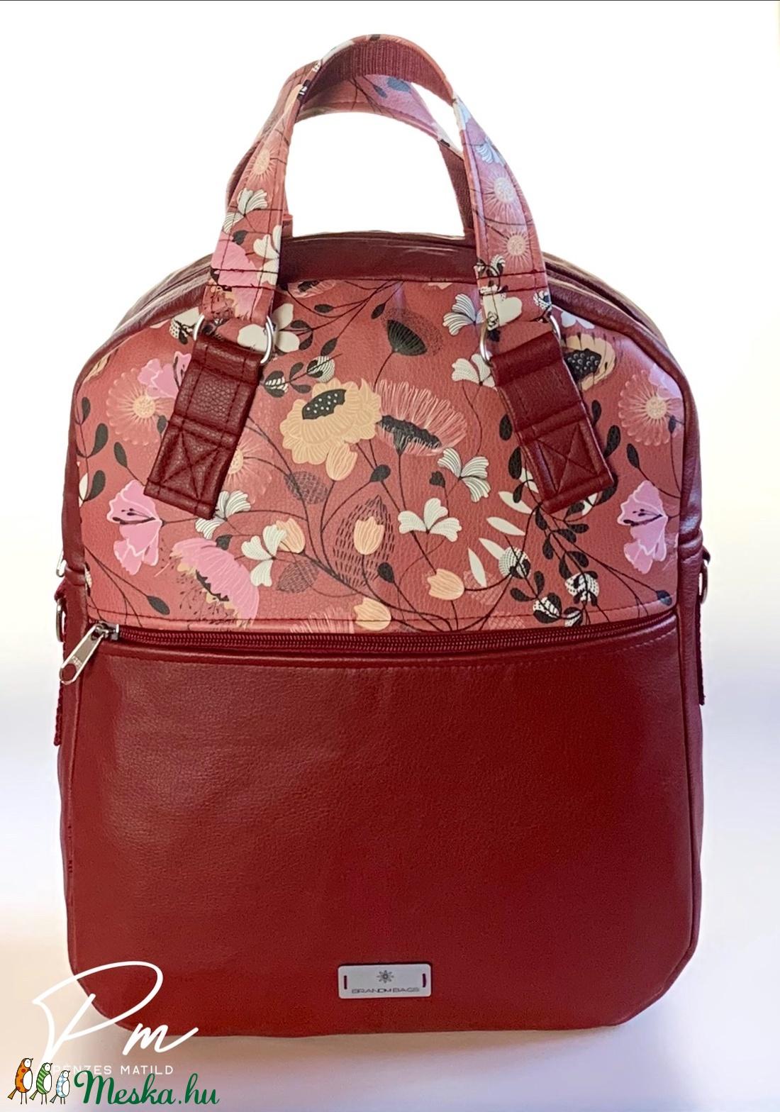 Bordó virágos textilbőr �RITA 4 az 1-ben táska/hátizsák - táska & tok - variálható táska - Meska.hu