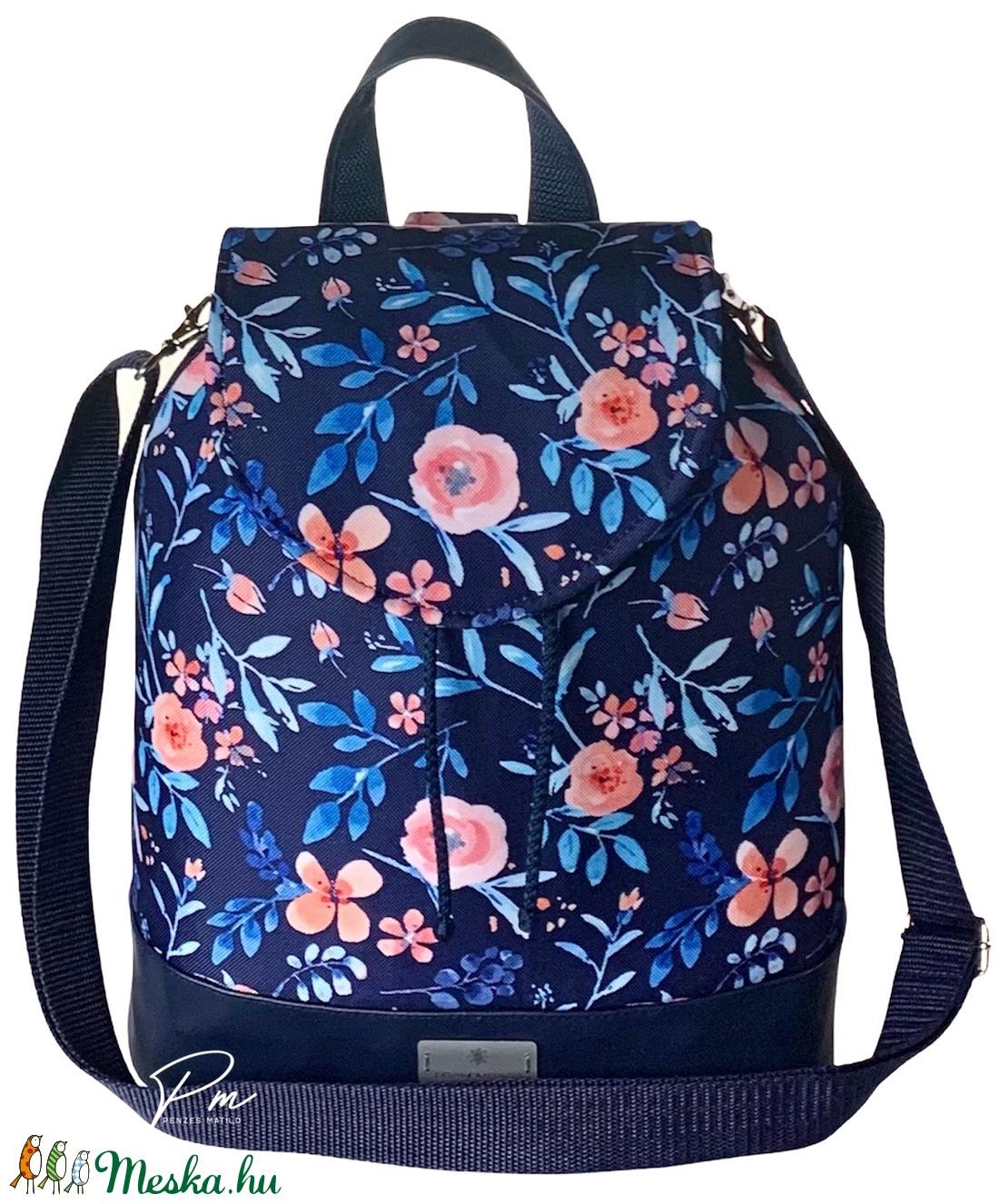 Kék virágos vízálló �ANDI 3 az 1-ben női táska/hátizsák zárófedéllel  - táska & tok - variálható táska - Meska.hu