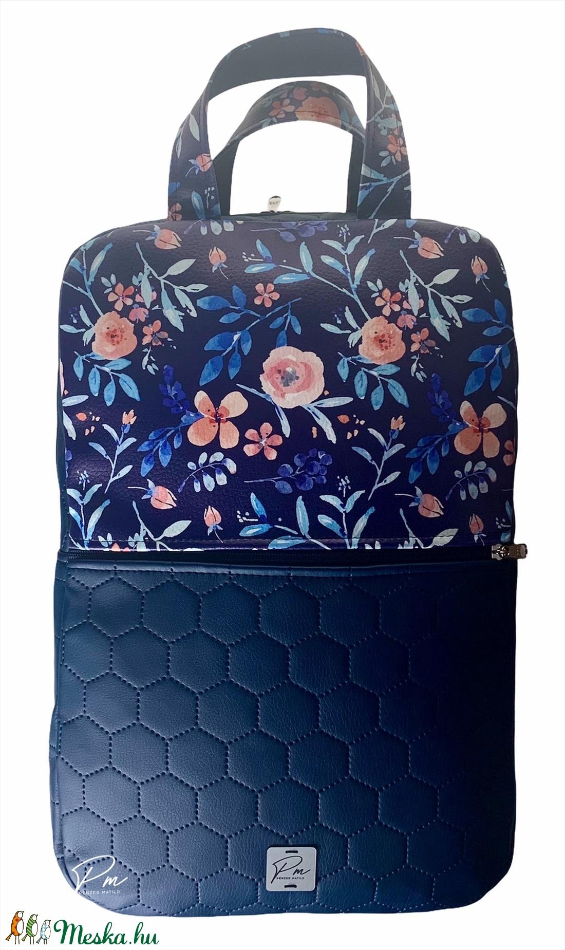 Kék virágos textilbőr �SZOFI laptop hátizsák  - táska & tok - laptop & tablettartó - laptoptáska - Meska.hu
