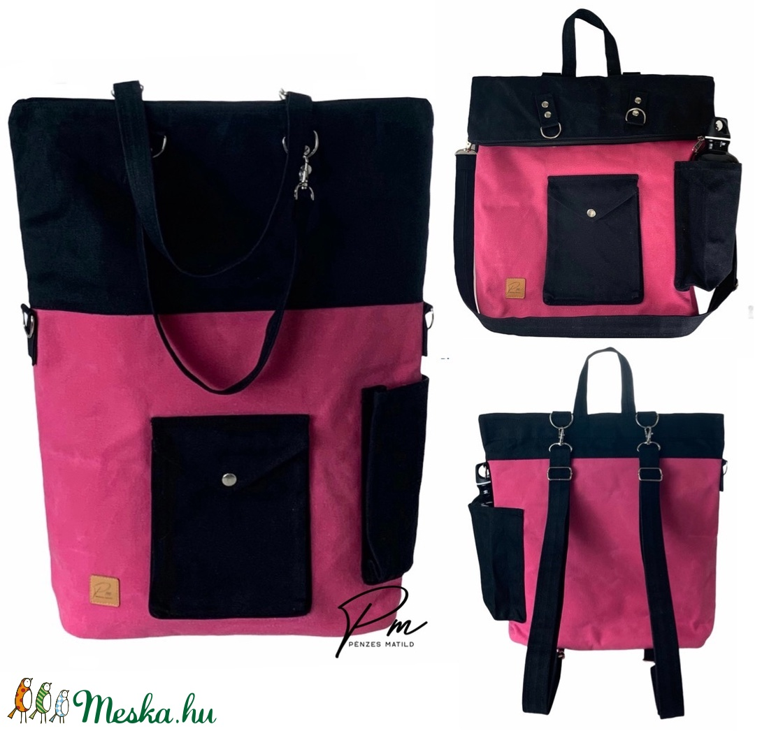 Pink �GABI uniszex viaszolt sportos 4 az 1-ben táska/hátizsák - táska & tok - variálható táska - Meska.hu
