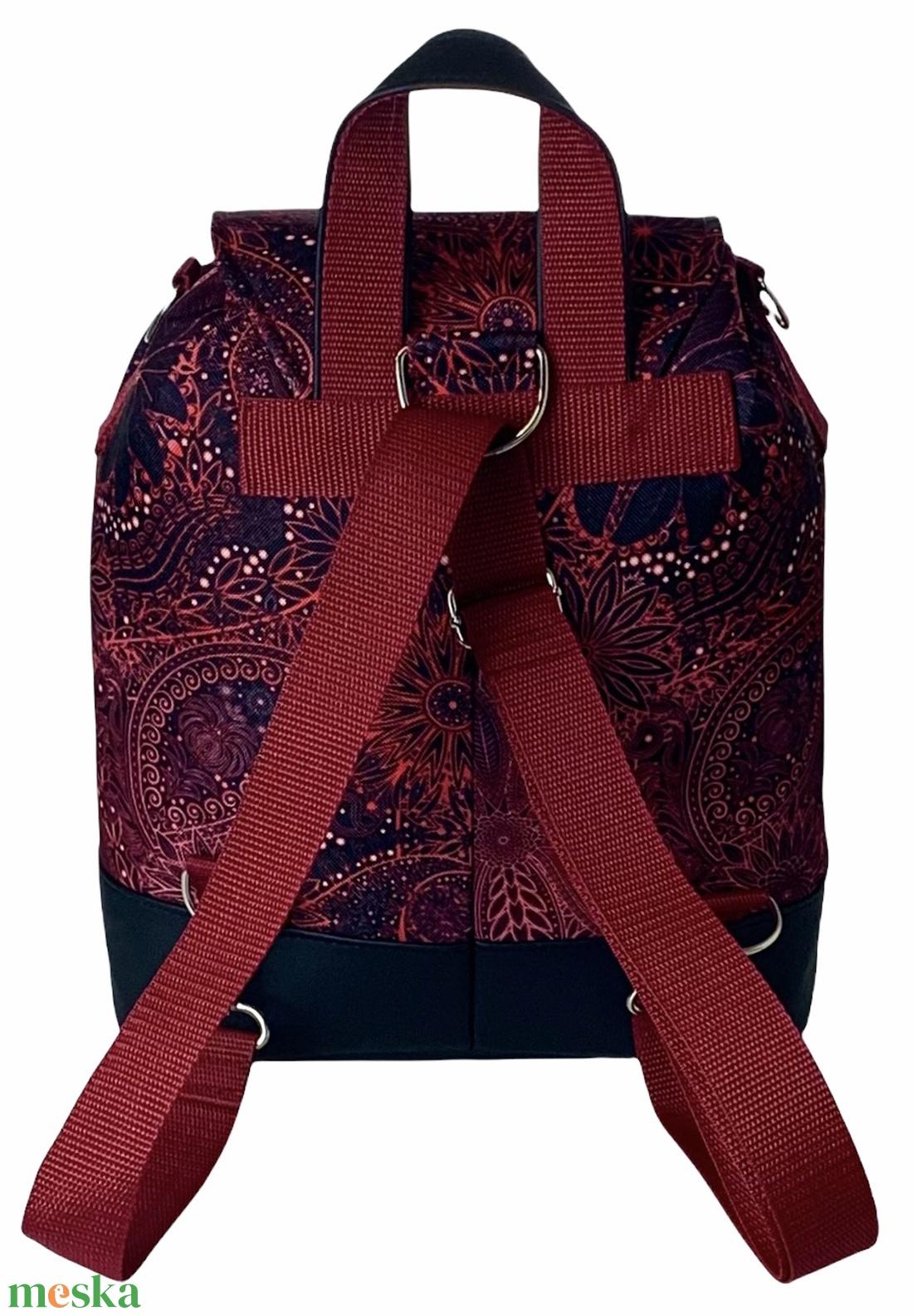 Burgundi vörös vízálló �ANDI 3 az 1-ben női táska/hátizsák zárófedéllel  - táska & tok - variálható táska - Meska.hu