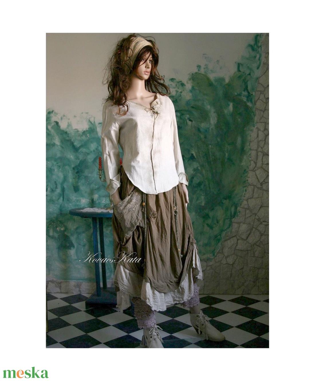 NATUR-ELLA - artsy lenvászon ingblúz   - ruha & divat - női ruha - blúz - Meska.hu