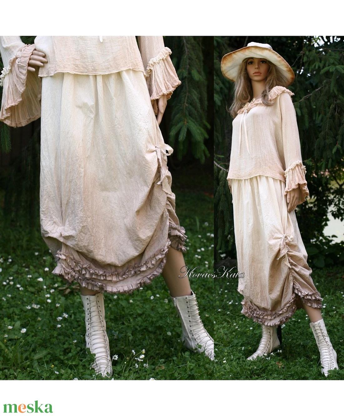 IRINA - romantikus vászonszoknya  - ruha & divat - női ruha - szoknya - Meska.hu