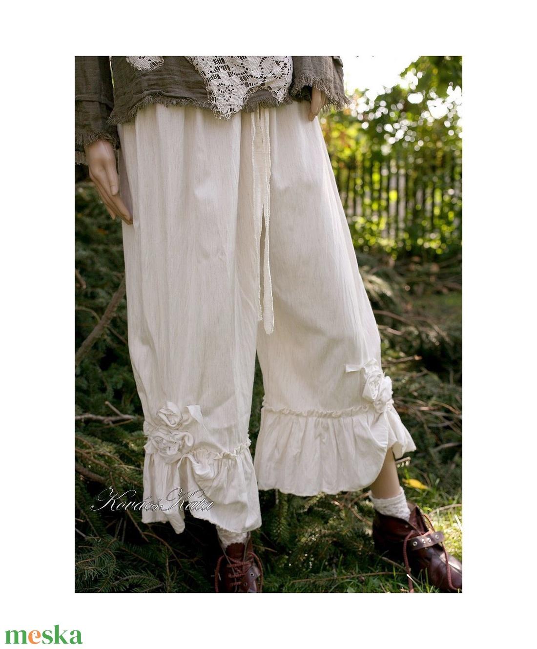 NATASA - applikált lagenlook nadrág - ruha & divat - női ruha - nadrág - Meska.hu
