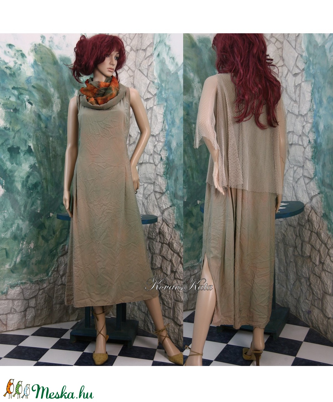 JÁZMIN-SZETT - batikolt selyemruha applikált necctunikával - ruha & divat - női ruha - ruha - Meska.hu