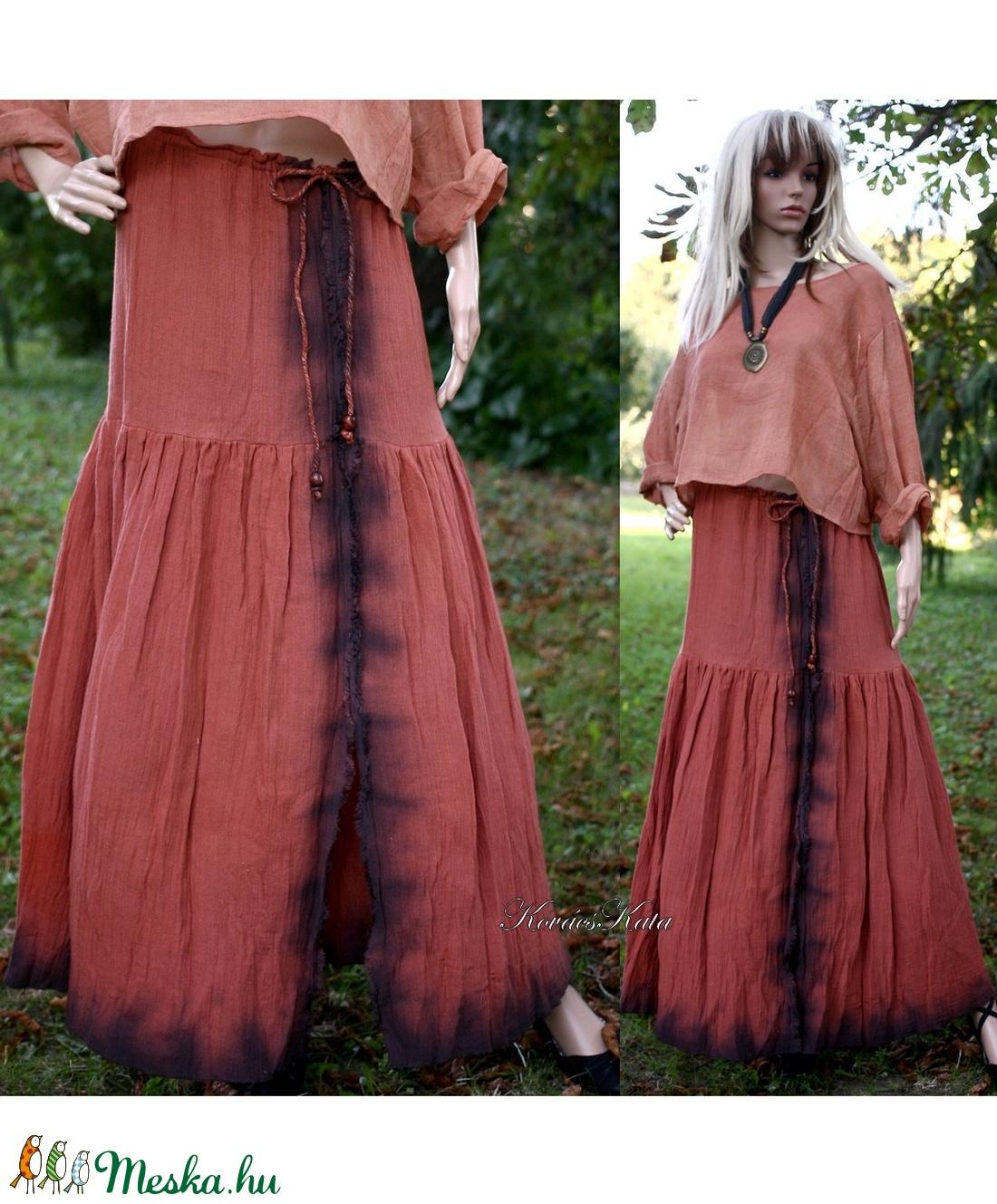 ŐSZIRÓZSA - batikolt design szoknya - ruha & divat - női ruha - szoknya - Meska.hu