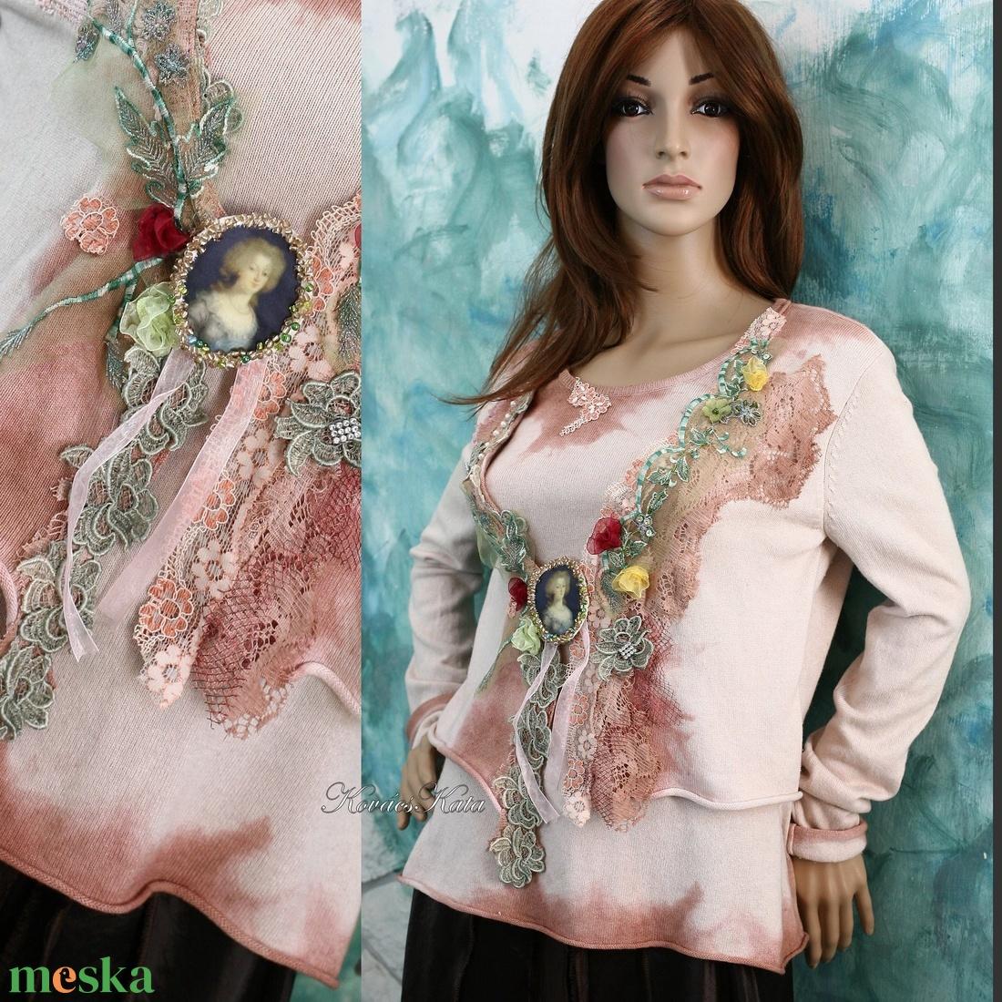 BAROCK - shabby chic kasmír pulóver  - ruha & divat - női ruha - pulóver & kardigán - Meska.hu