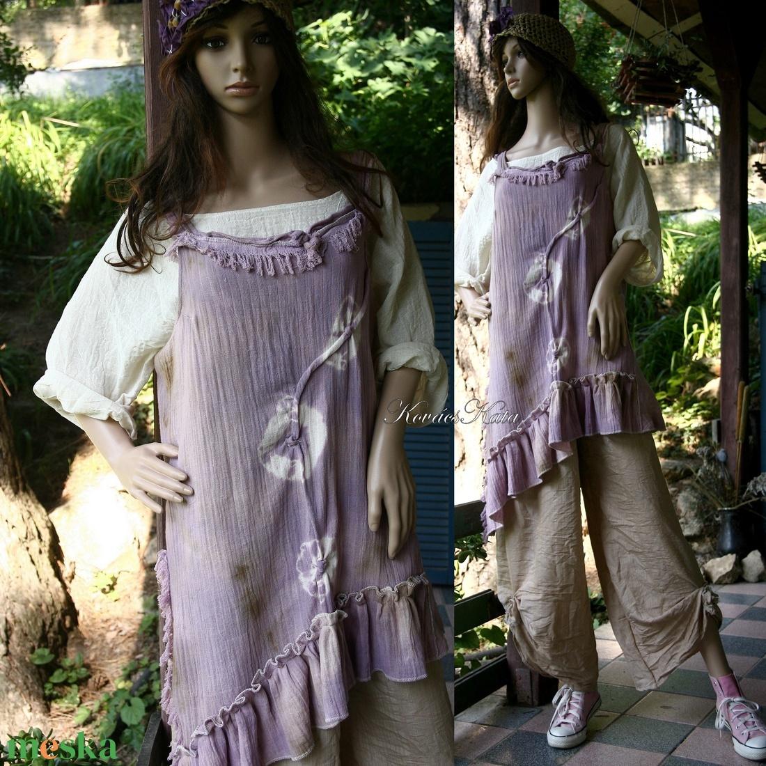 LEVENDULA BATIK - shabby chic tunika  - ruha & divat - női ruha - tunika - Meska.hu