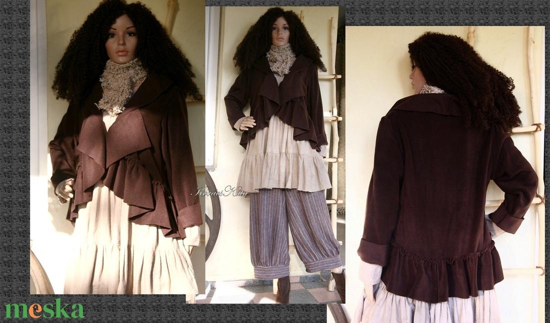 LAURA - lagenlook polár-kabátka / csokoládé - ruha & divat - női ruha - kabát - Meska.hu