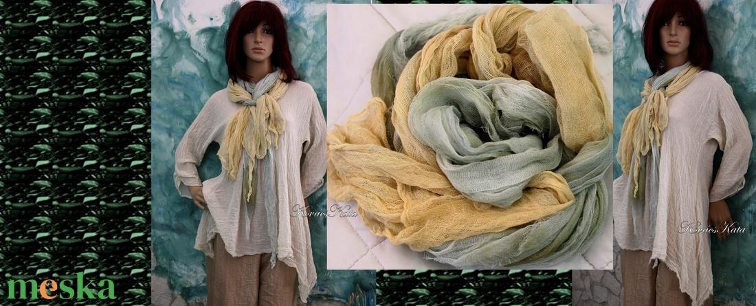 TWEENS / zöld és sárga - batikolt géz sál kettős - ruha & divat - sál, sapka, kendő - sál - Meska.hu