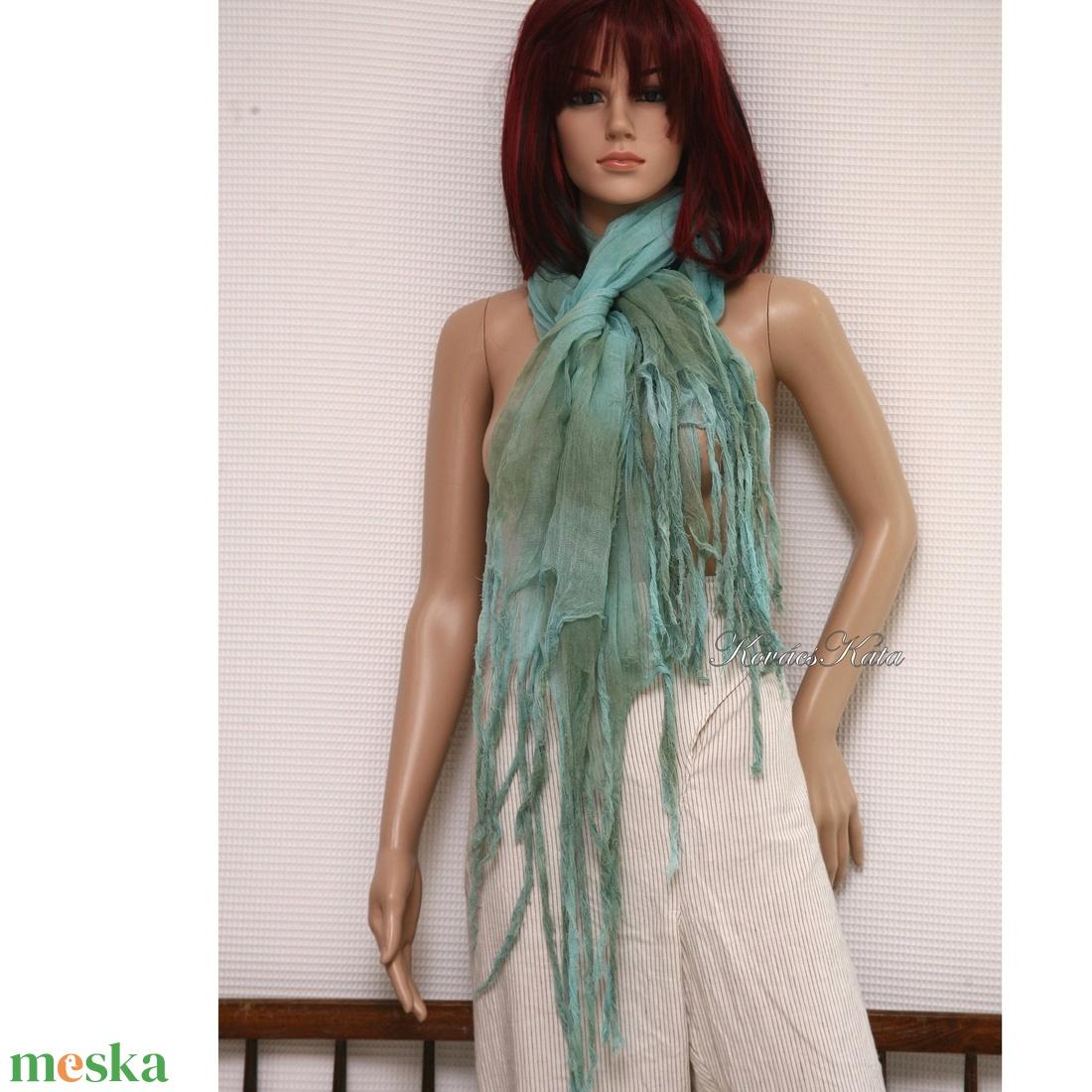 PIXY nimfa-stóla : batikolt, szabdalt géz stóla, sál / türkiz-zöld  - ruha & divat - sál, sapka, kendő - stóla - Meska.hu