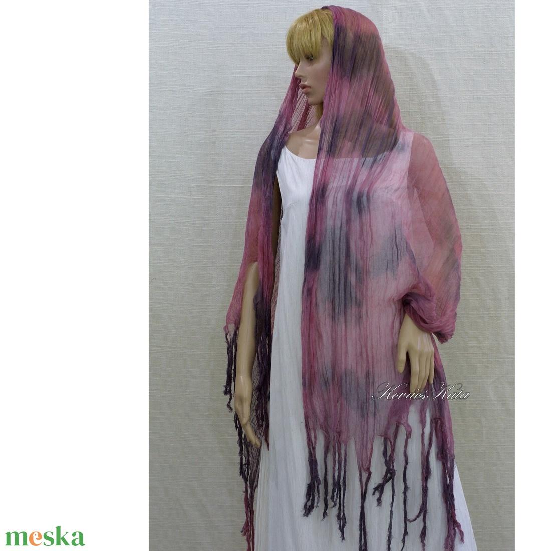 PIXY nimfa-stóla : batikolt, szabdalt géz stóla, sál / MÁLYVA-SZÜRKE - ruha & divat - sál, sapka, kendő - sál - Meska.hu