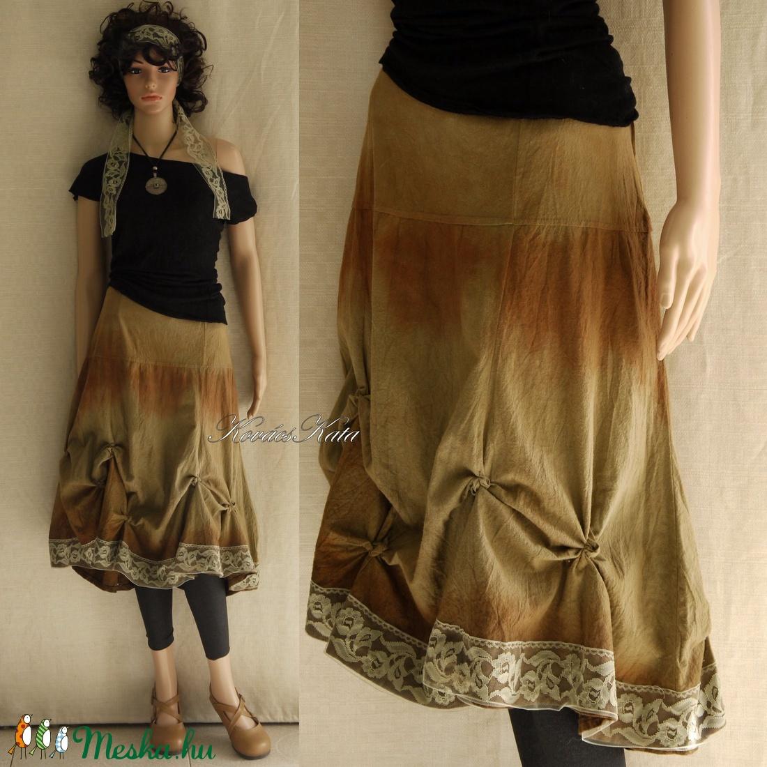 GAIA / ősz - kézzel festett design-szoknya  - ruha & divat - női ruha - szoknya - Meska.hu