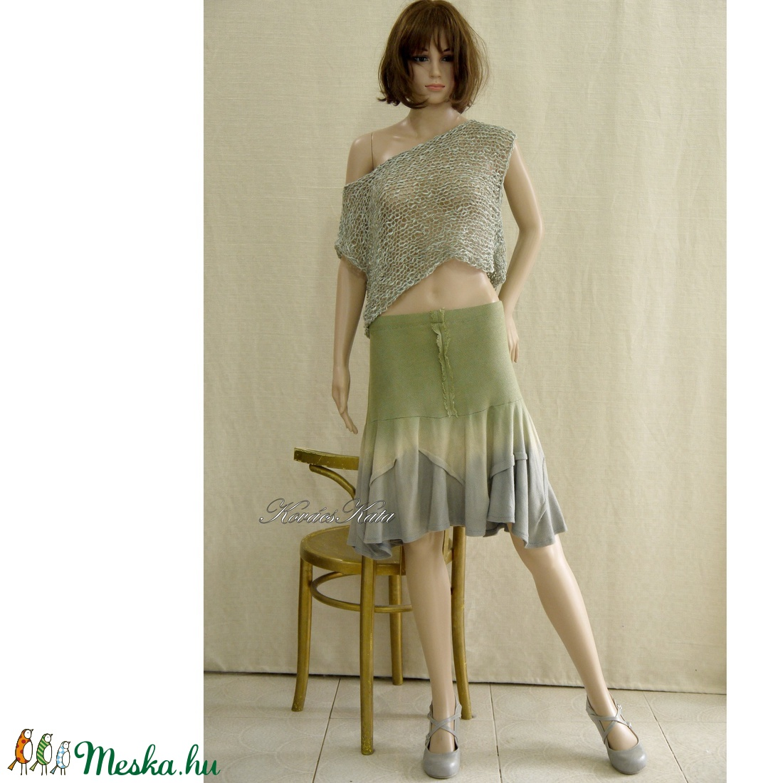 LOLITA - kötött-festett design szoknya - ruha & divat - női ruha - szoknya - Meska.hu