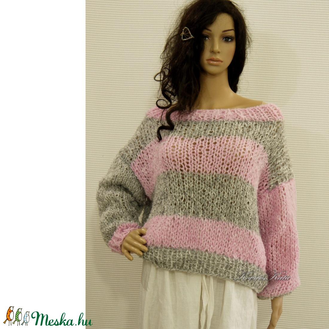 FRIVOL kézzel kötött pulóver rózsaszínszürke (brokat) Meska.hu
