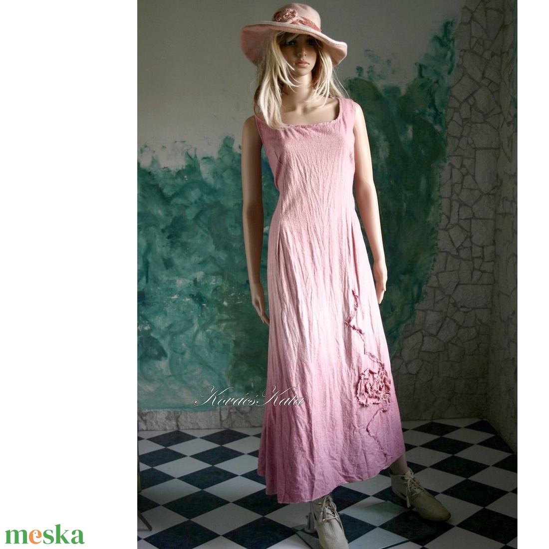 AKVARELLA - shabby chic design-ruha / rózsaszín - ruha & divat - női ruha - ruha - Meska.hu