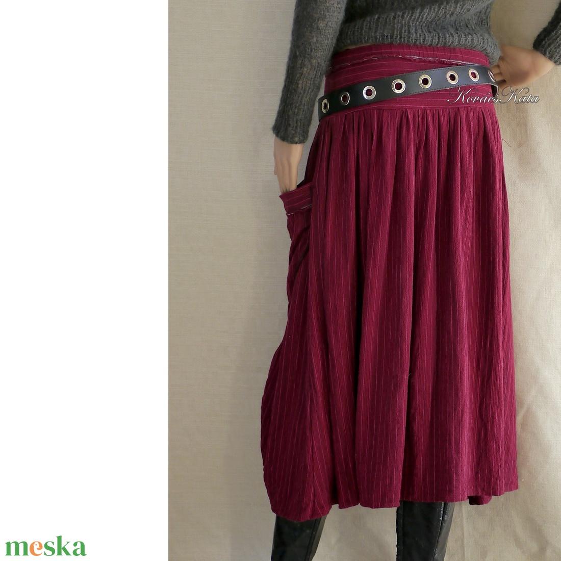 LUCA-SZOKNYA / bordó lenszövet - lagenlook fashion design  - ruha & divat - női ruha - szoknya - Meska.hu
