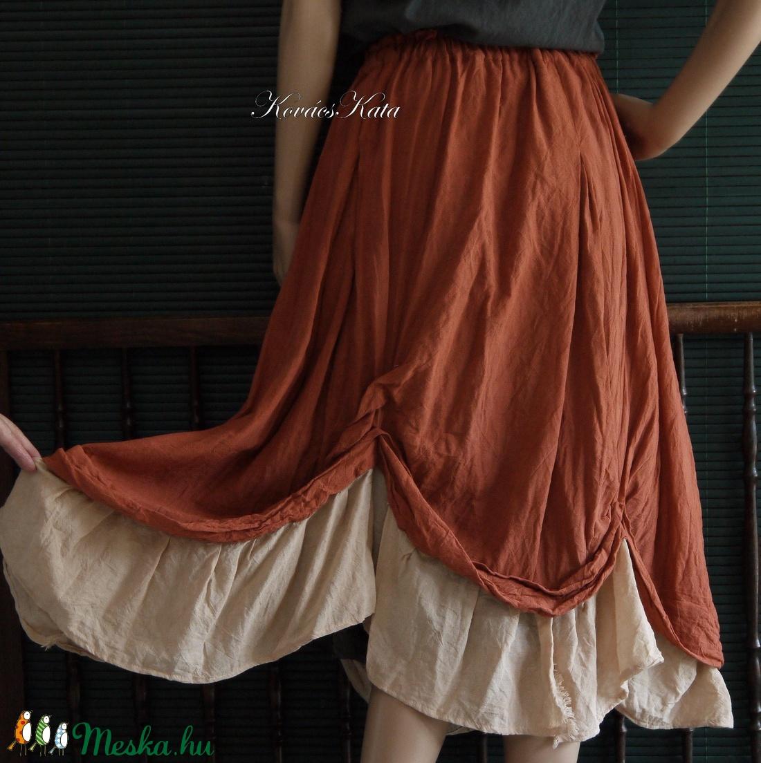 REGINA - bohém lagenlook szoknya  - ruha & divat - női ruha - szoknya - Meska.hu