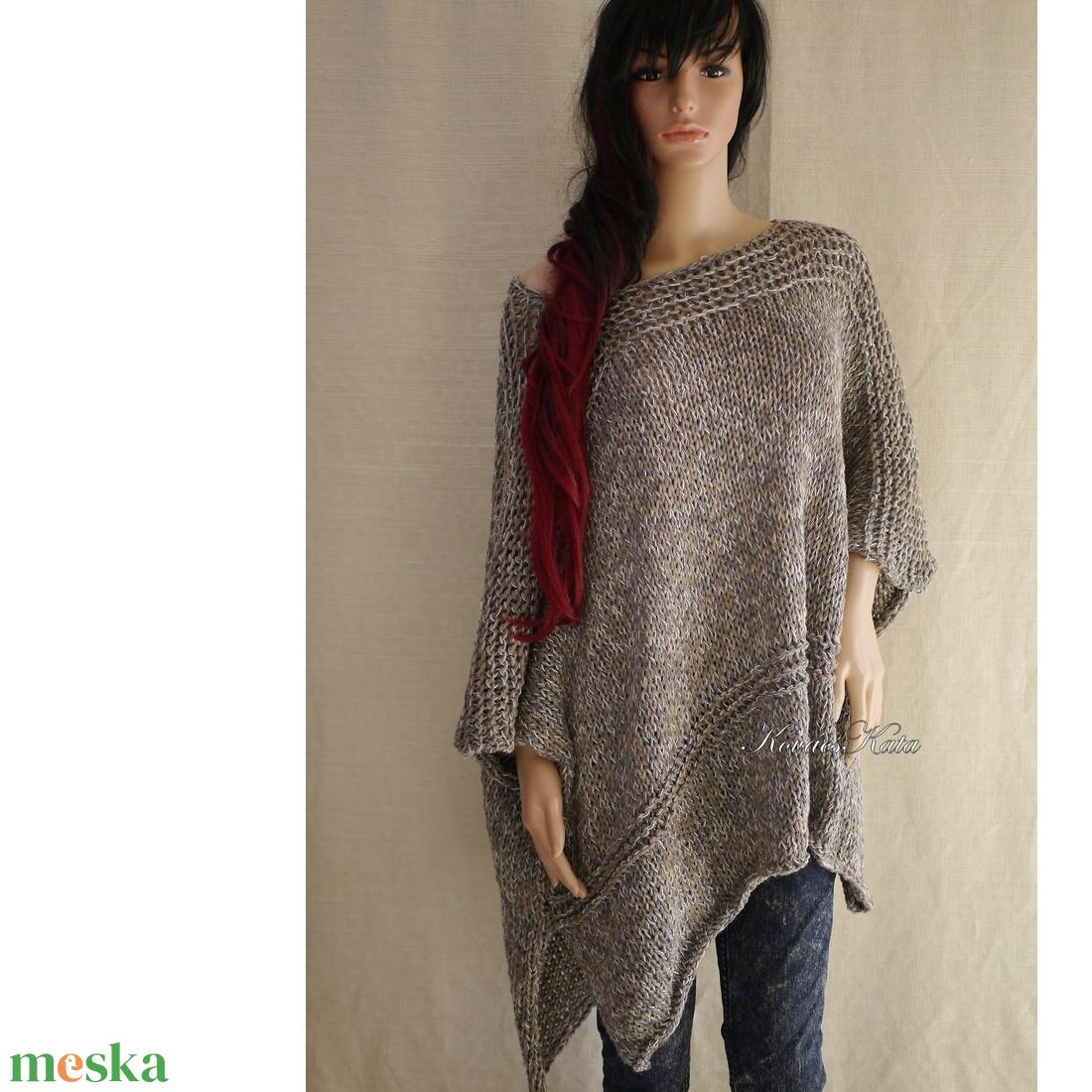 DESIGN-PONCSÓ - kézzel kötött lagenlook fashion BELLE - ruha & divat - női ruha - poncsó - Meska.hu