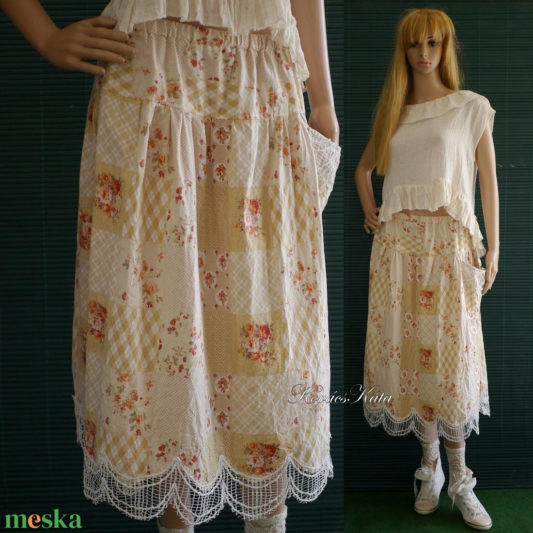 TERKA-SZOKNYA / nyomott mintás romantikus szoknya - ruha & divat - női ruha - szoknya - Meska.hu