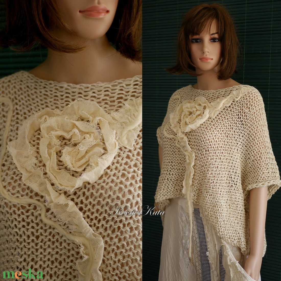 ARTSY-PULCSI - applikált kézzel kötött pamut-pulóver / rózsás - ruha & divat - női ruha - pulóver & kardigán - Meska.hu
