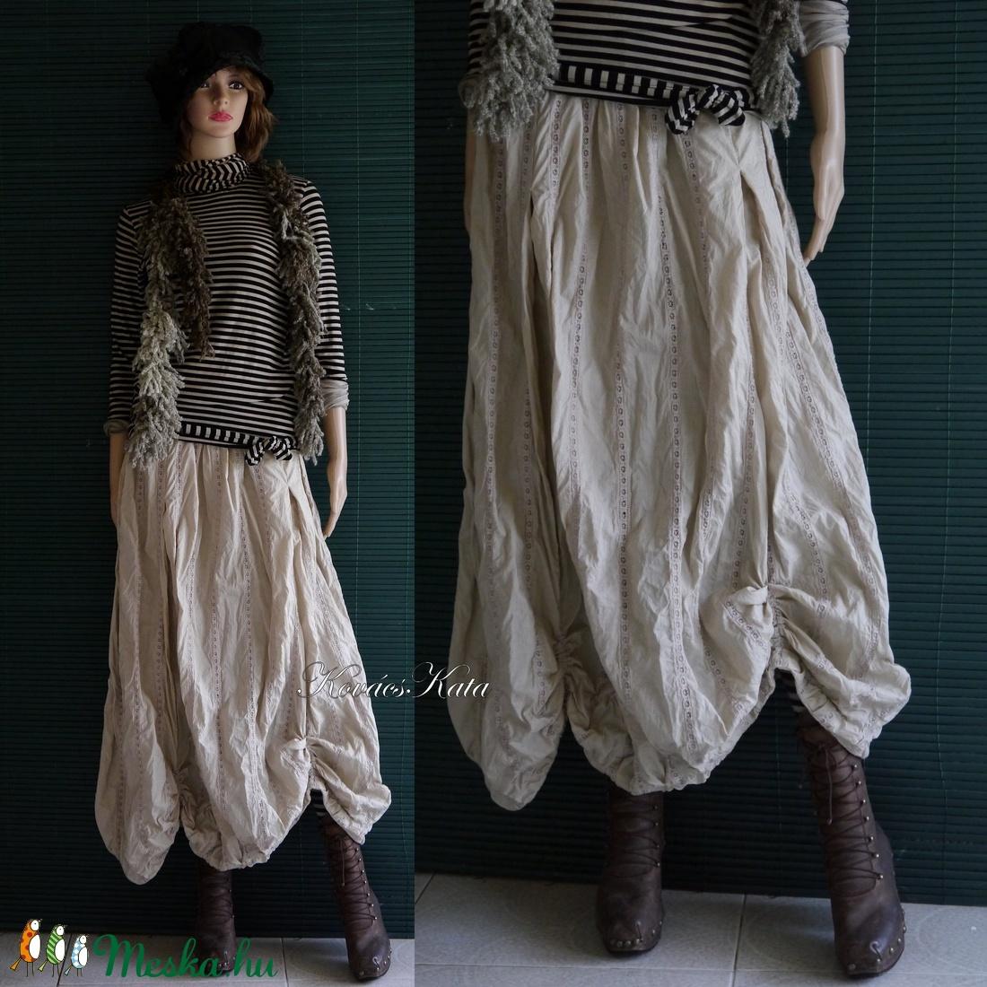 RACHEL/azsúros - bohém lagenlook vászon szoknya / fekete - ruha & divat - női ruha - szoknya - Meska.hu