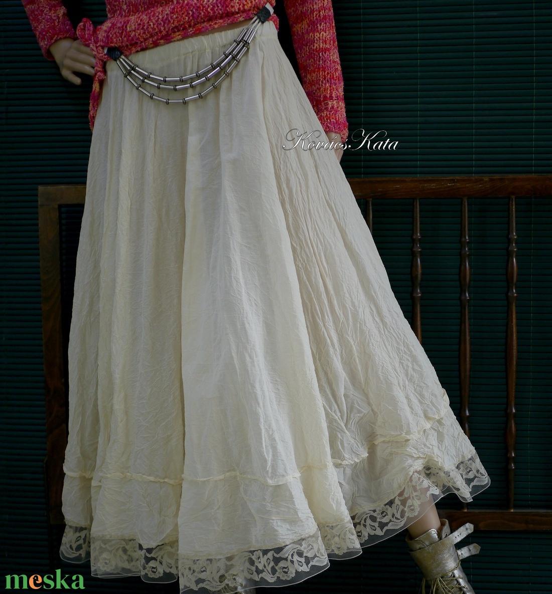 RÓZA - romantikus hosszú-szoknya, alsószoknya - ruha & divat - női ruha - szoknya - Meska.hu