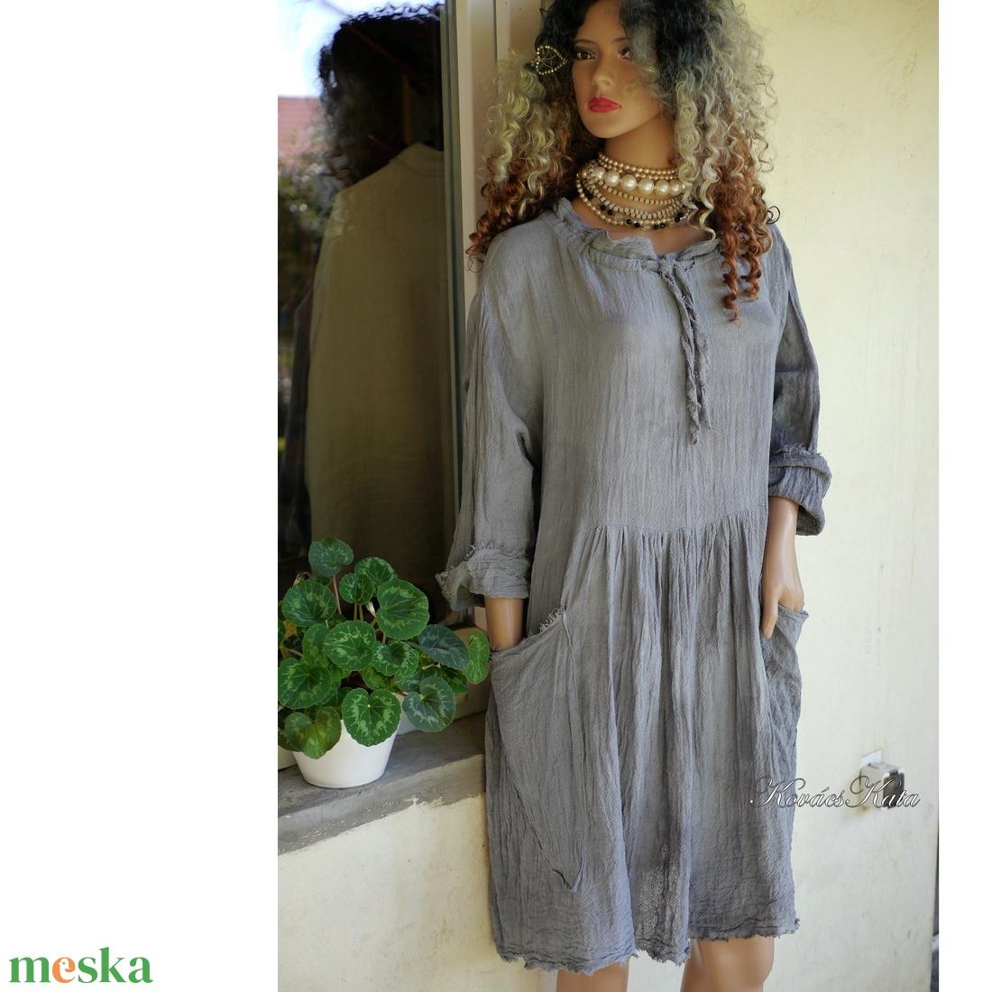 ANTHEA - lagenlook babydoll-ruha / szürke - ruha & divat - női ruha - ruha - Meska.hu