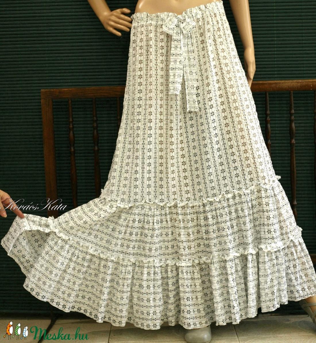 PIPITÉR - lenge nyári szoknya - romantikus lagenlook - ruha & divat - női ruha - szoknya - Meska.hu