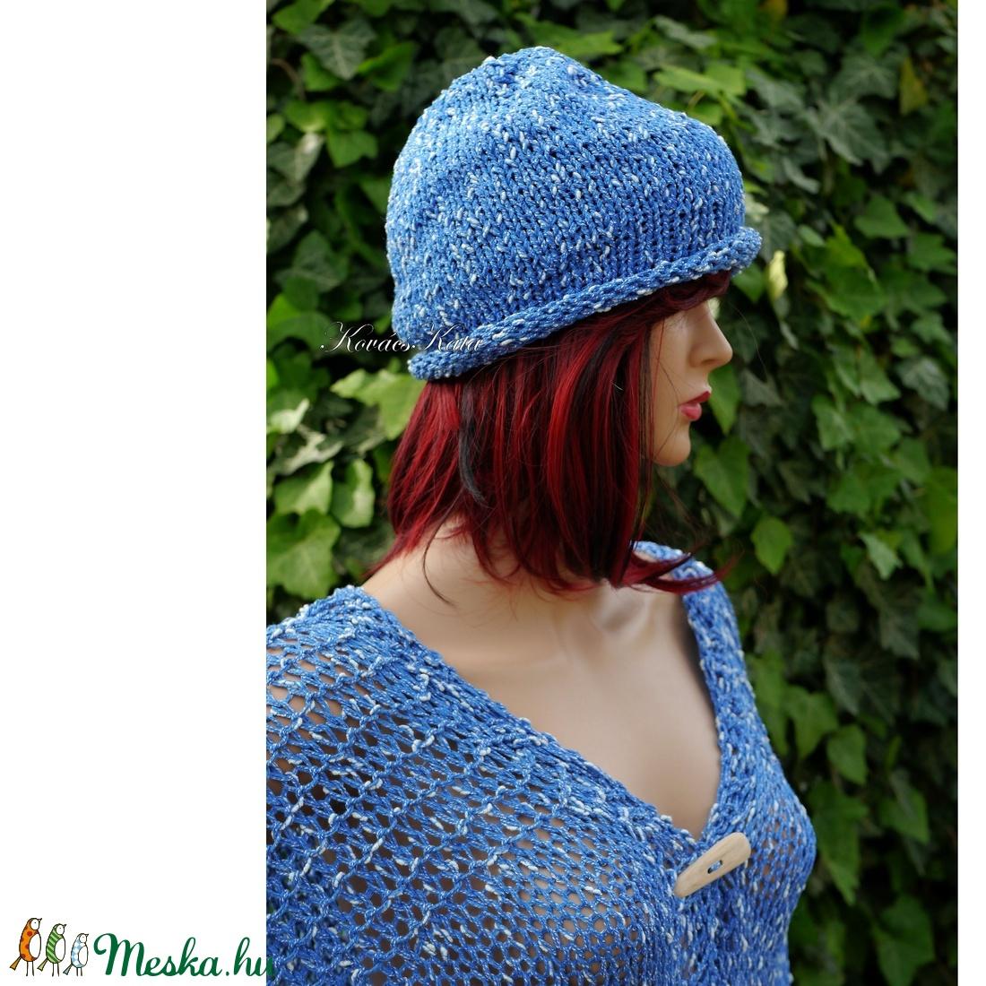 BEANIE/kék - trendi kézzel kötött sapka  - ruha & divat - sál, sapka, kendő - sapka - Meska.hu