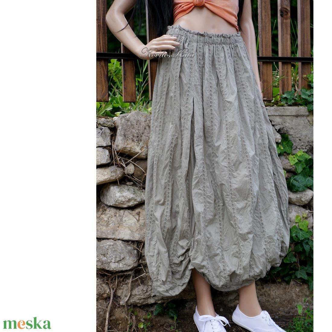 RACHEL/azsúros - bohém lagenlook vászonszoknya / keki - ruha & divat - női ruha - szoknya - Meska.hu