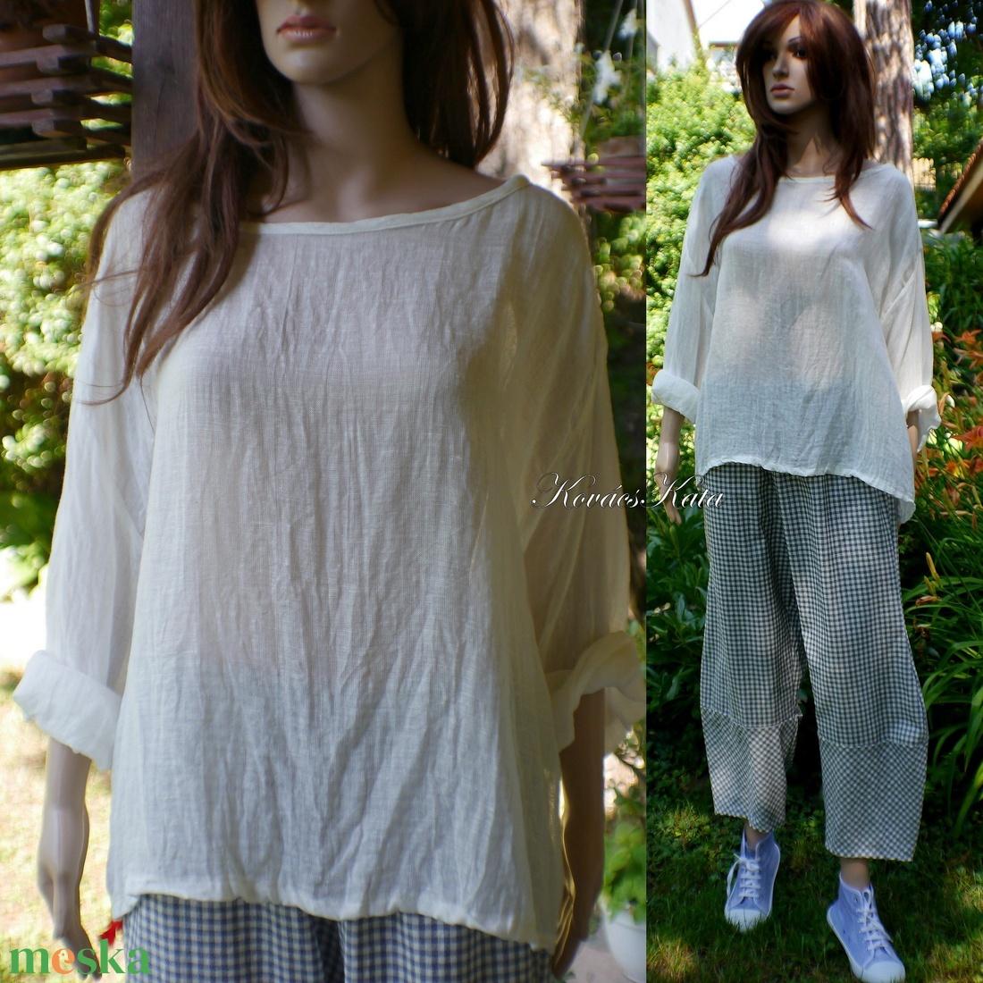 LINEA len-géz ing XXL - lagenlook design - ruha & divat - női ruha - blúz - Meska.hu
