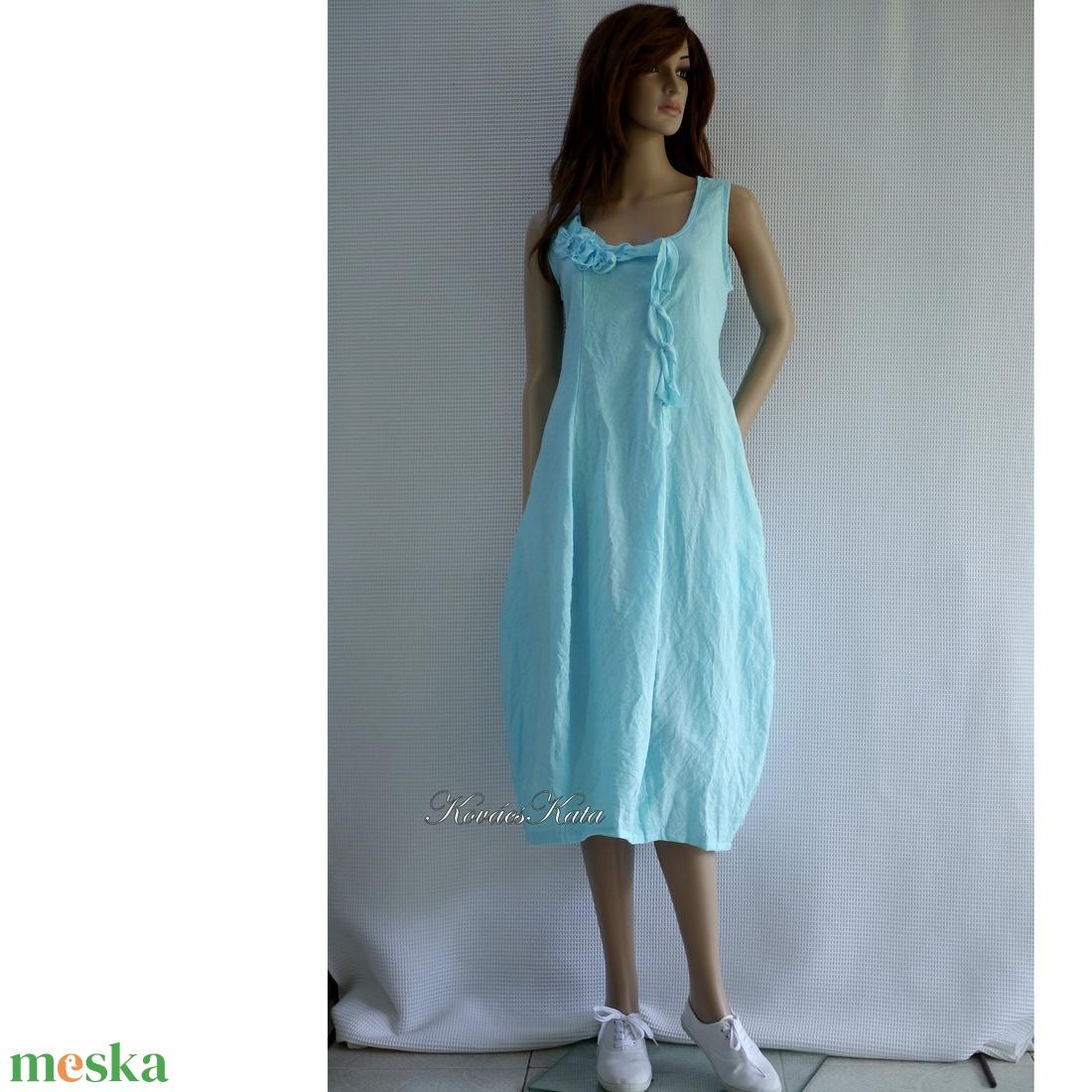 AMFÓRA-RUHA / türkizkék lenvászon design ruha - ruha & divat - női ruha - ruha - Meska.hu