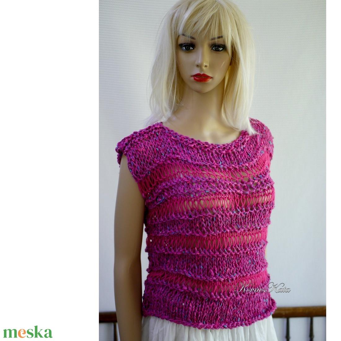 MAKRA PULCSI - kézzel kötött nyári pamut pulóver / cherry - ruha & divat - női ruha - pulóver & kardigán - Meska.hu