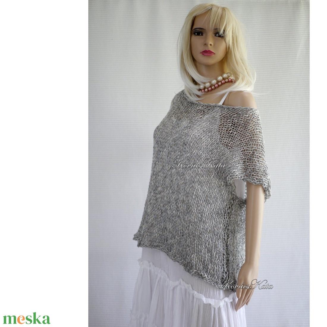 'GERLE' ARTSY-PULCSI - trendi kézzel kötött pamut-pulóver / szürke - ruha & divat - női ruha - pulóver & kardigán - Meska.hu