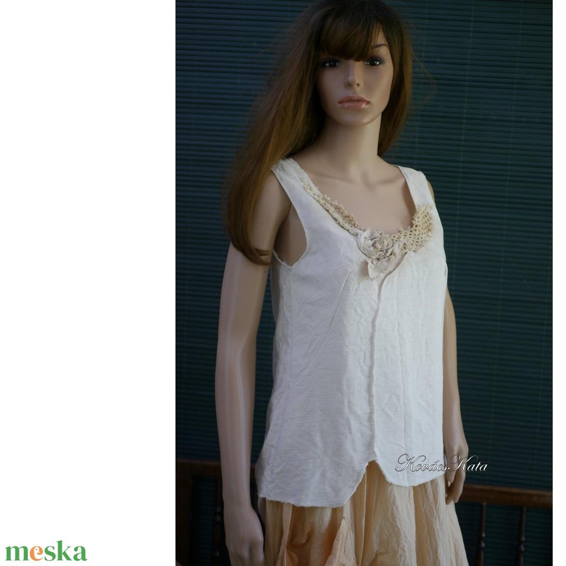 EMILY-TOP -  applikált lenvászon felső - ruha & divat - női ruha - top - Meska.hu