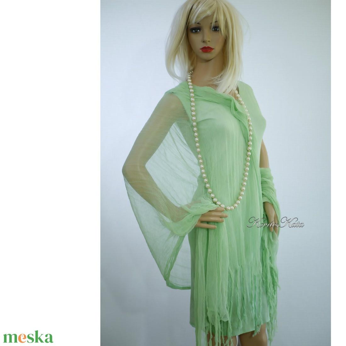 PIXY-SZETT / borsózöld - batikolt trikóruha szabdalt gézstólával  - ruha & divat - női ruha - ruha - Meska.hu