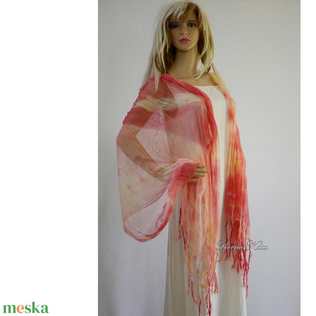 PIXY nimfa-stóla : batikolt, szabdalt géz stóla, sál / tahiti - ruha & divat - sál, sapka, kendő - stóla - Meska.hu