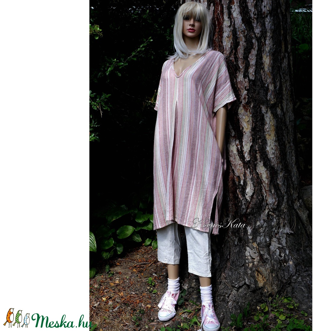 KINGA-TUNIKA - etno-csíkos lenvászon ruha  - ruha & divat - női ruha - ruha - Meska.hu