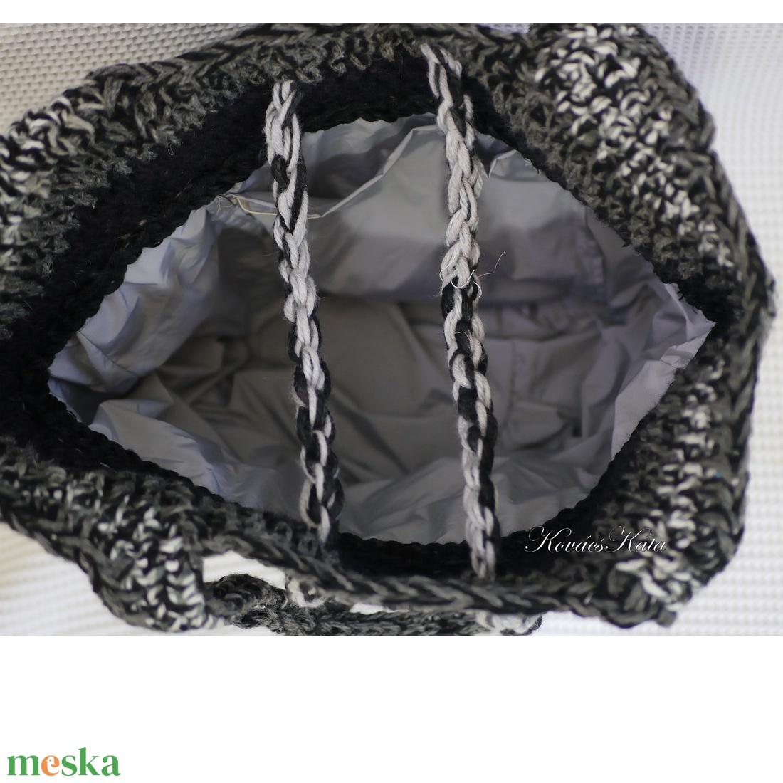 HEXE-BAG / szürke - horgolt kosár táska  - táska & tok - kézitáska & válltáska - válltáska - Meska.hu
