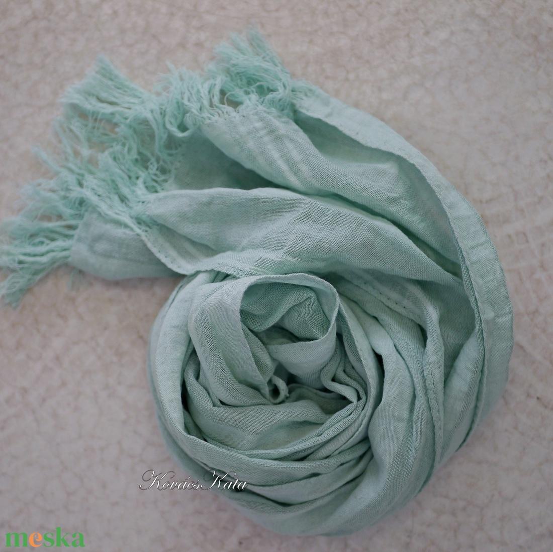 SZADA / zöld - lenszövet  géz sál - ruha & divat - sál, sapka, kendő - sál - Meska.hu
