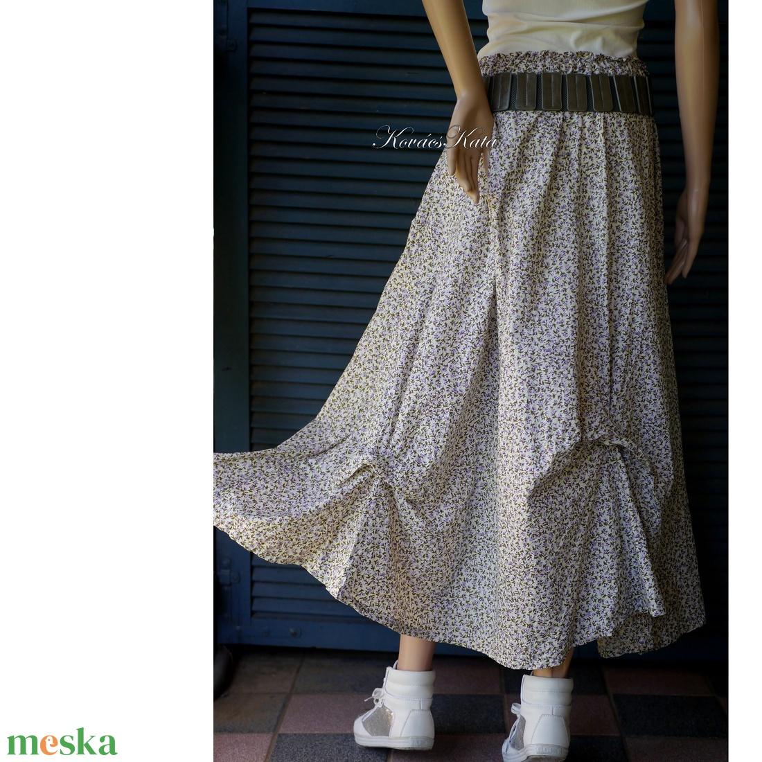 OPHÉLIA - bohém romantikus vászon-szoknya / kisvirágos - ruha & divat - női ruha - szoknya - Meska.hu